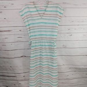 Vintage Womens S/M Cream Striped V Neck Dress